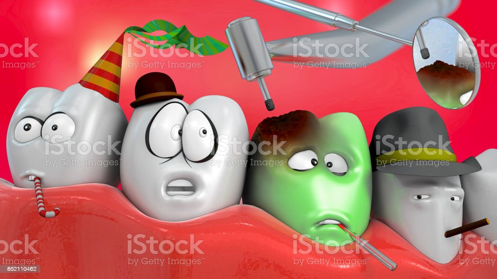 3d illustration of comic tooth with dentist drill and mirror stock photo