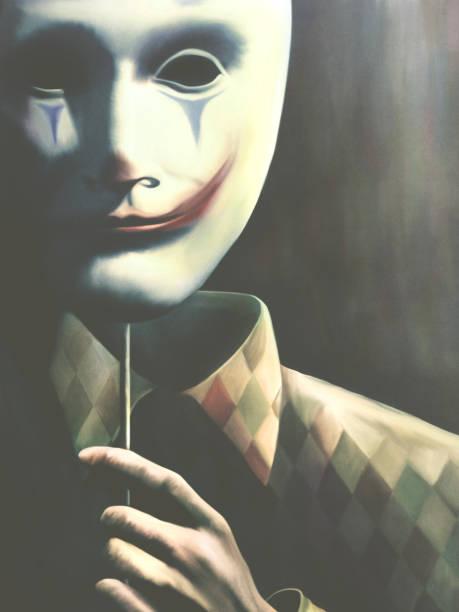 3d Illustration of creepy clown mask, surreal concept stock photo