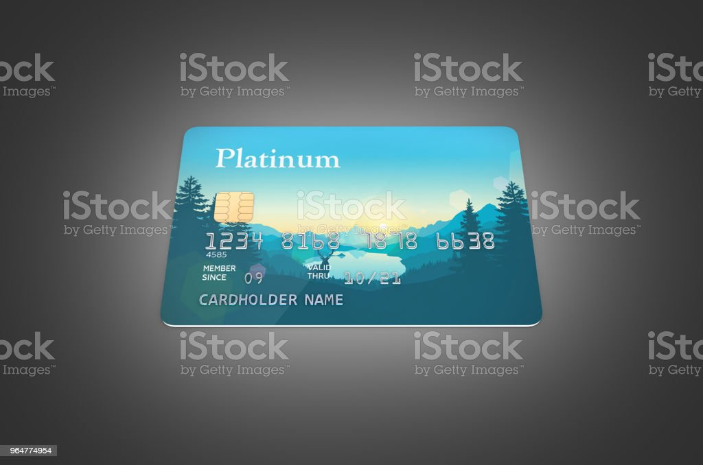 3d illustration of detailed glossy credit card isolated on black gradient background royalty-free stock photo
