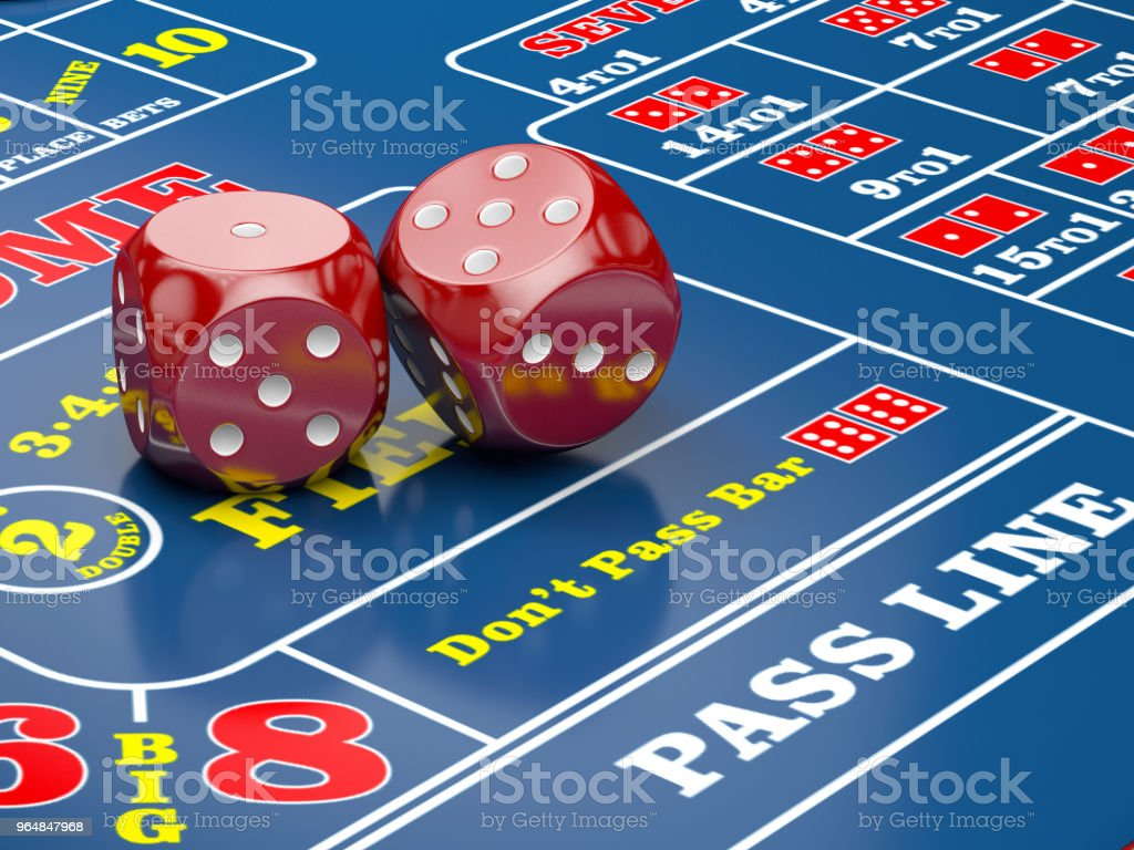 3d illustration of Dice on casino table with casino chips royalty-free stock photo