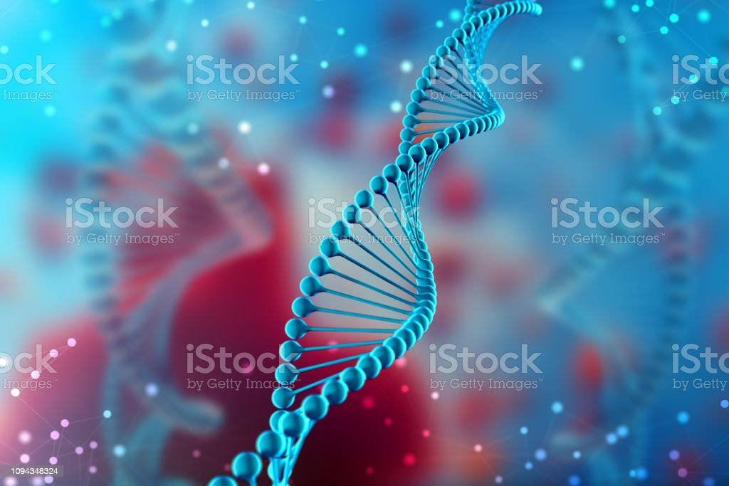 3d Illustration of DNA molecule. The blue helical molecule of a nucleotide in organism. Genome and modification stock photo