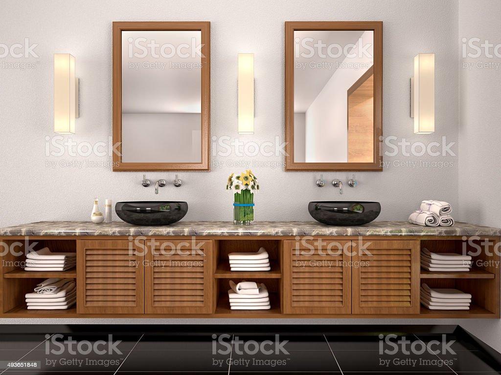 3 D Illustration Der Doppelwaschbecken Im Badezimmer Im ...