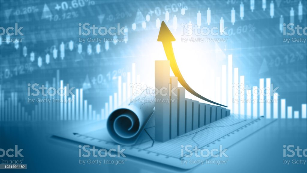 3d illustration of economic growth background stock photo