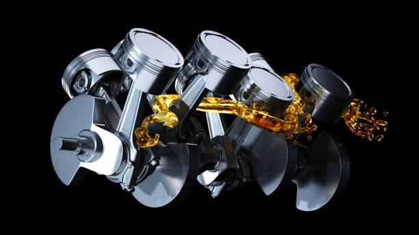 3d illustration of engine. Motor parts as crankshaft, pistons with motor oil splash 3d illustration of engine. Motor parts as crankshaft, pistons with motor oil splash piston stock pictures, royalty-free photos & images