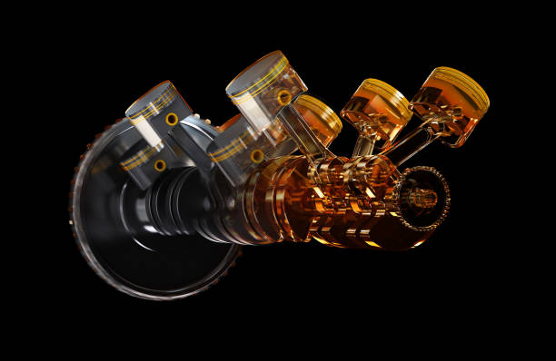 3d illustration of engine. 3d illustration of engine. Motor parts as crankshaft, pistons in motion piston stock pictures, royalty-free photos & images