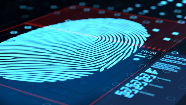 3d illustration of fingerprint concept scanning interface stock photo