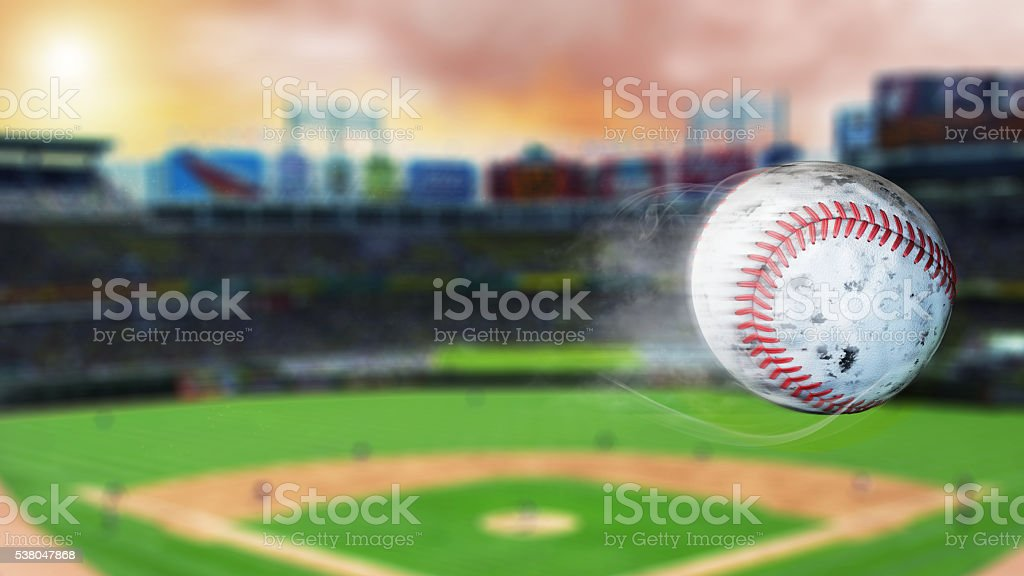 3d illustration of flying baseball leaving a trail of smoke. – zdjęcie