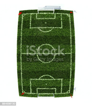 istock 3d illustration of football field isolated on white background 884698130