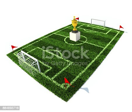 istock 3d illustration of football field with golden trophy on center 884693716