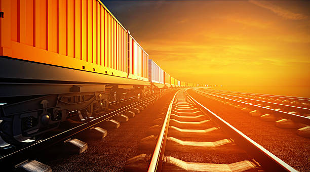 3d illustration of freight train with containers on platforms on - godståg bildbanksfoton och bilder