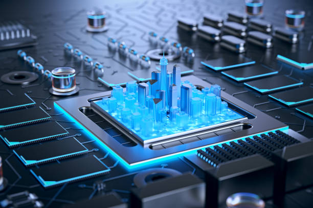 3d illustration of futuristic micro chip city. computer science information technology background. sci fi megalopolis. - mother board stock pictures, royalty-free photos & images