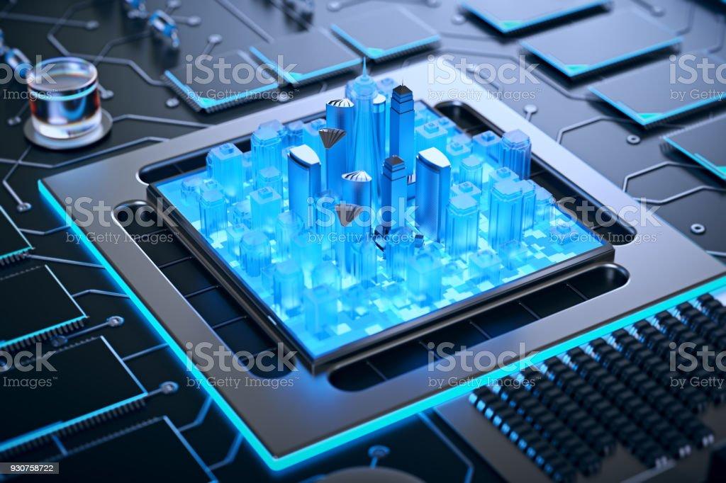 3d Illustration Of Futuristic Micro Chip City Computer