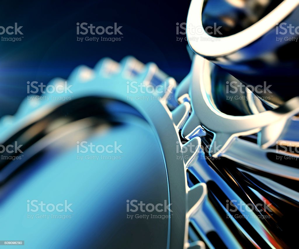 3d illustration of gear metal wheels close-up stock photo