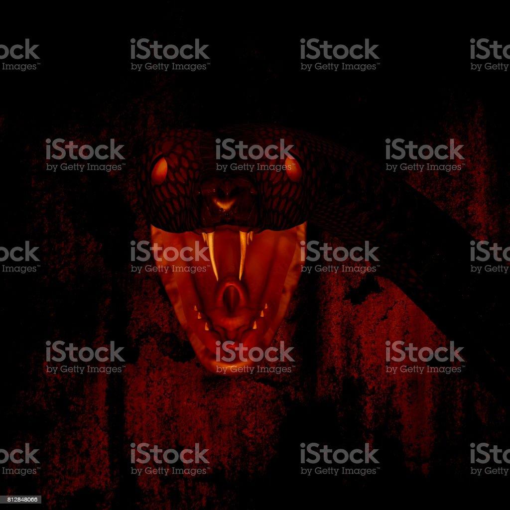 3d illustration of giant snake in the dark stock photo