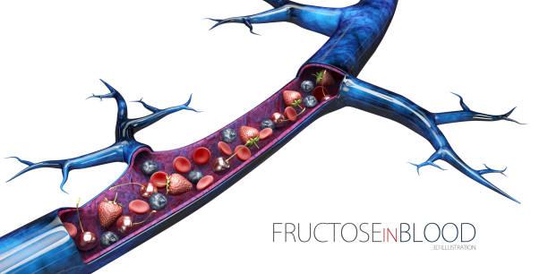 3d darstellung der glukose im blut, isoliert weiß - hyperglycemia stock-fotos und bilder