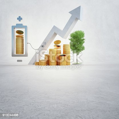 istock 3d illustration of gold coins with battery and financial graph on white copy space background in business growth or digital currency concept. 913244498