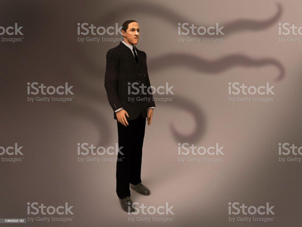 3d illustration of Howard Phillips Lovecraft stock photo