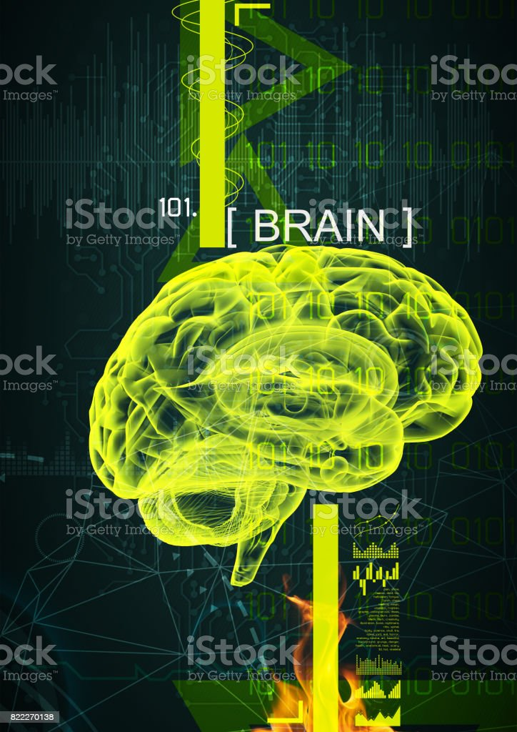 3d illustration of human brain by x- ray on background stock photo
