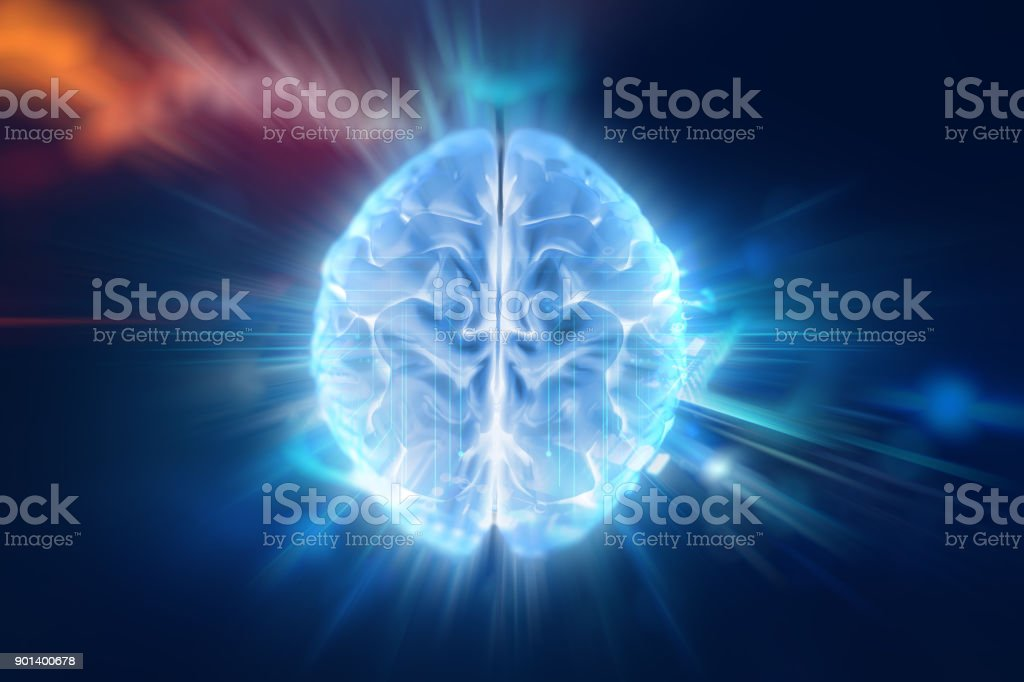 3d illustration of human brain on technology background. stock photo
