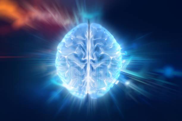 ilustração 3d do cérebro humano em fundo de tecnologia. - brain - fotografias e filmes do acervo