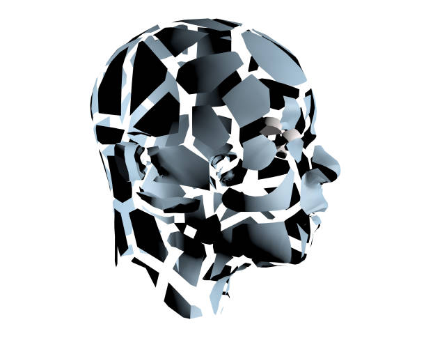 3d illustration of human head broken on pieces as a symbol of mental disorde - detachment stock pictures, royalty-free photos & images
