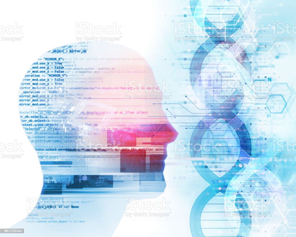3d illustration of human head on dna molecules  abstract technology background stock photo