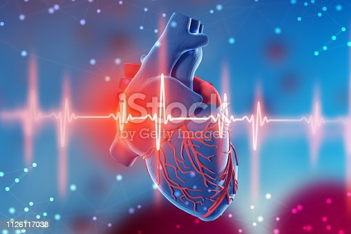 istock 3d illustration of human heart and cardiogram on futuristic blue background. Digital technologies in medicine 1126117038