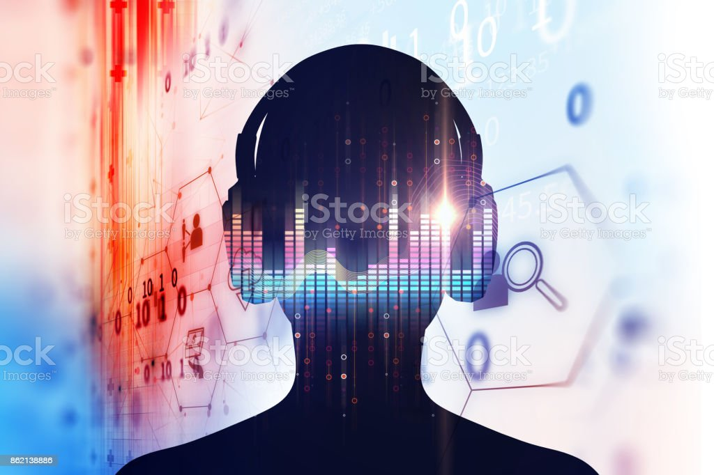 3d illustration of human with headphone on Audio waveform stock photo