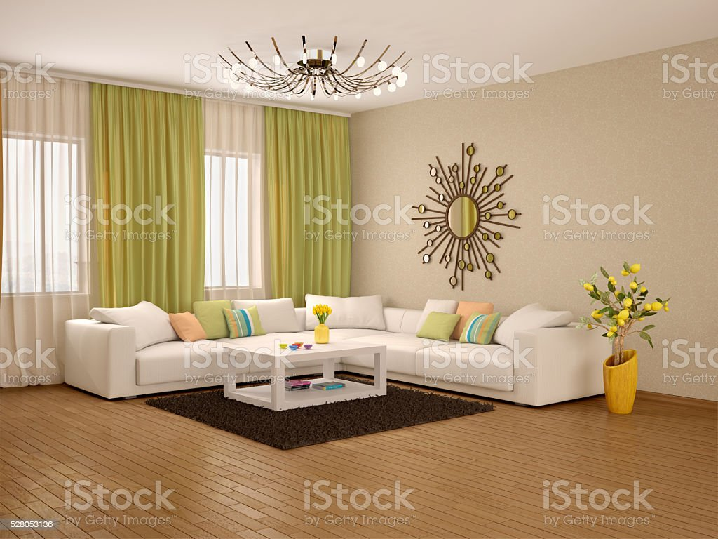 3d Illustration Of Interior Of Modern Living Room Warm Colors Stock Photo Download Image Now Istock