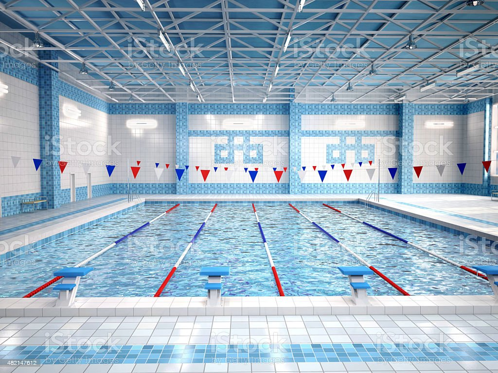 3d illustration of interior of public swimming pool stock photo