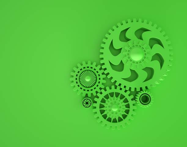 3d illustration of interlocking cogwheel in green color. Minimal concept 3d render. Copyspace. Concept of cooperation and teamwork. Monochrome. stock photo