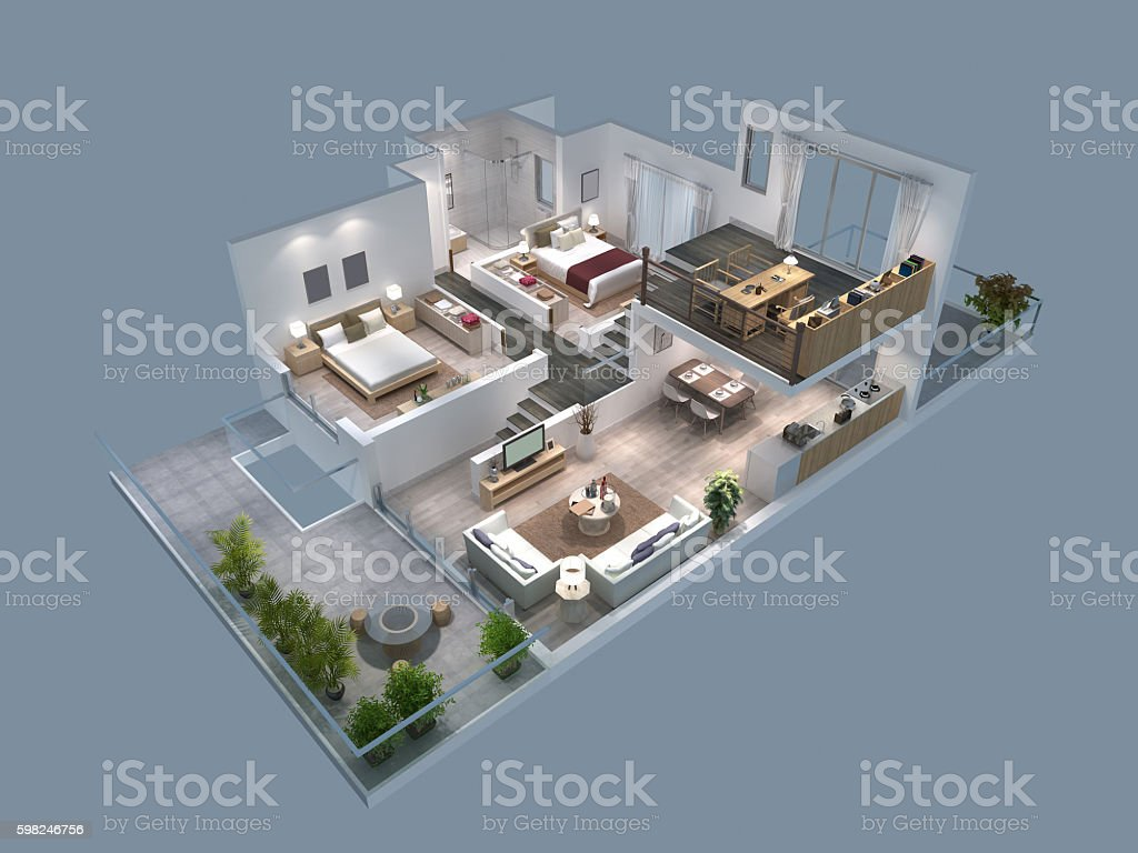 3d illustration of isometric view of a villa stock photo