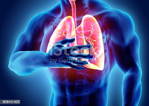 istock 3d illustration of Lungs and chest painful, medical healthcare. 928441420