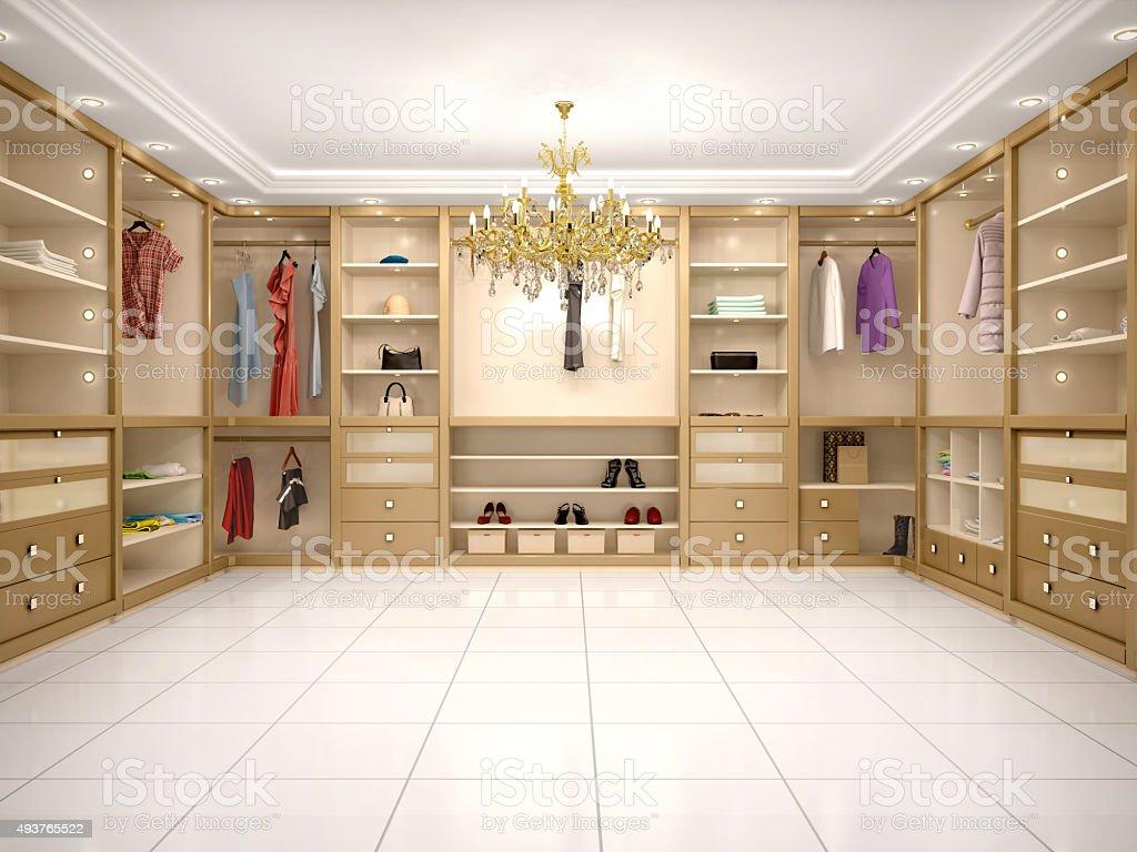 3d illustration of luxury wardrobe in modern style stock photo