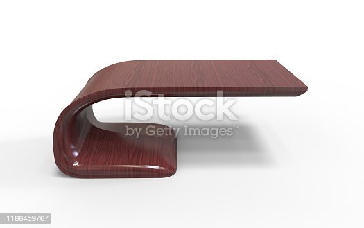 istock 3d Illustration of  modern office table made of cherry wood on a white background 1166459767