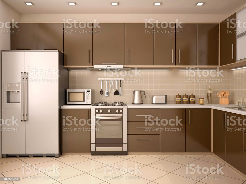3d illustration of modern style kitchen interior stock photo