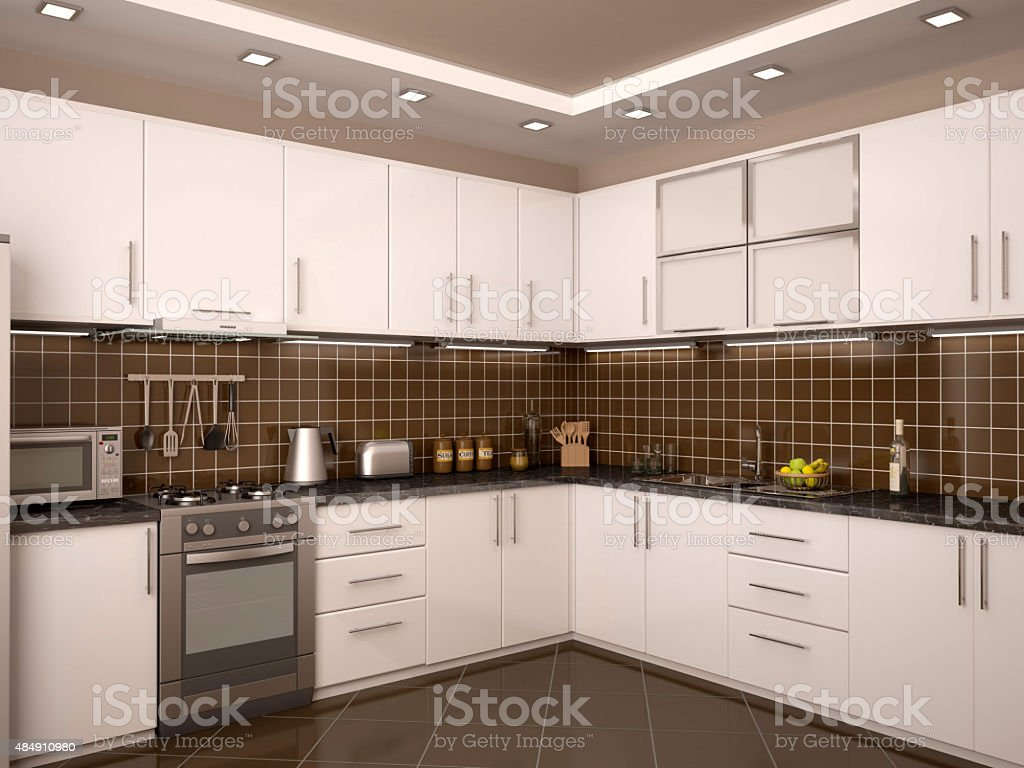 3d Illustration Of Modern Style Kitchen Interior Stock Photo More