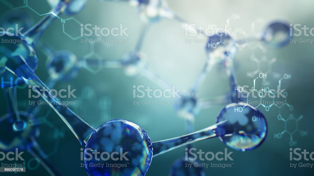 3d illustration of molecule model. Science background with molecules and atoms royalty-free stock photo