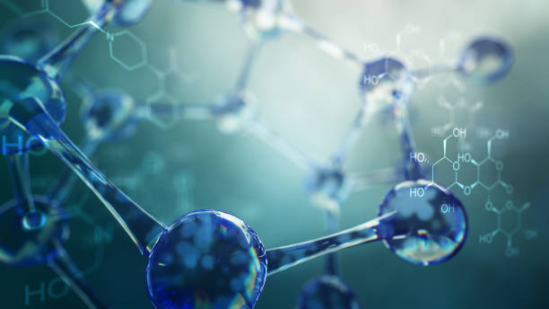 3d illustration of molecule model. Science background with molecules and atoms stock photo