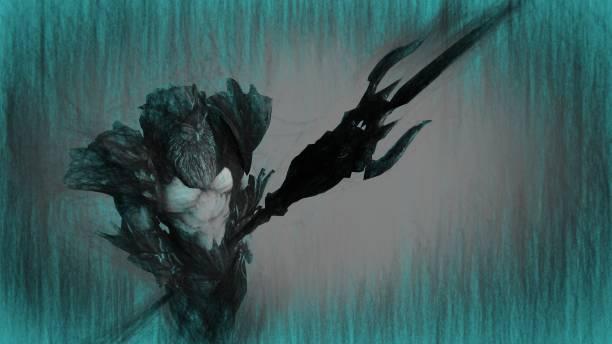 3d illustration of Neptune (Poseidon) stock photo