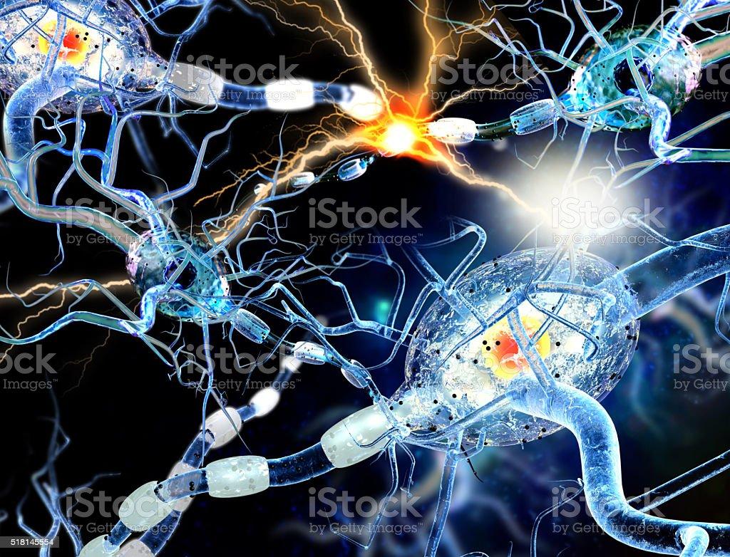 3d illustration of nerve cells stock photo
