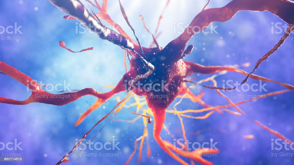 3d illustration of neural cell stock photo