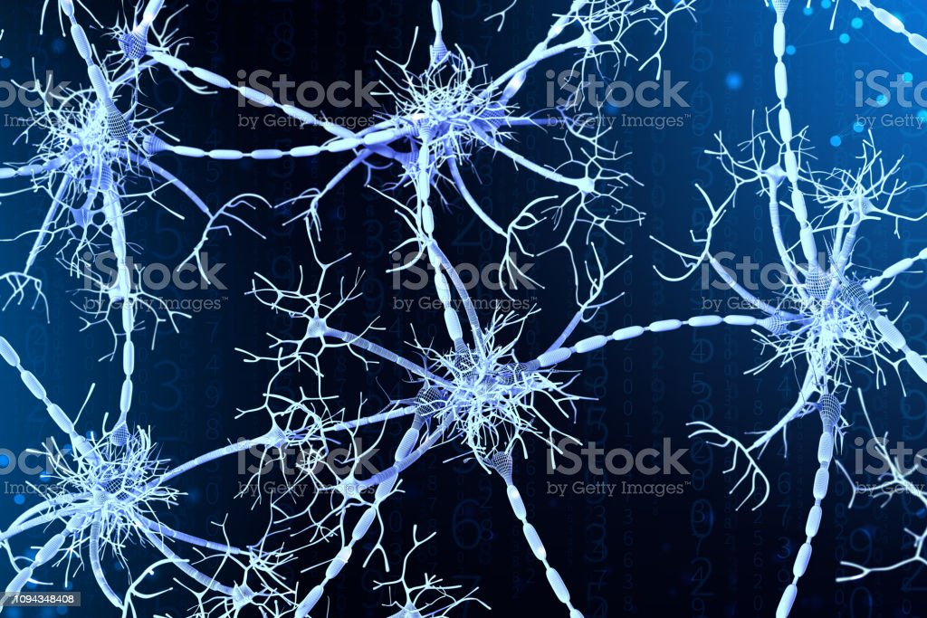 3d illustration of neural networks on a digital background. Concept of artificial intelligence stock photo