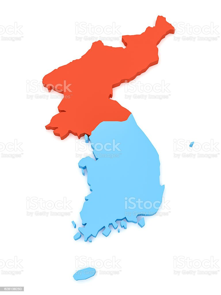 3d Illustration Of North And South Korea Map Stock Photo & More ...