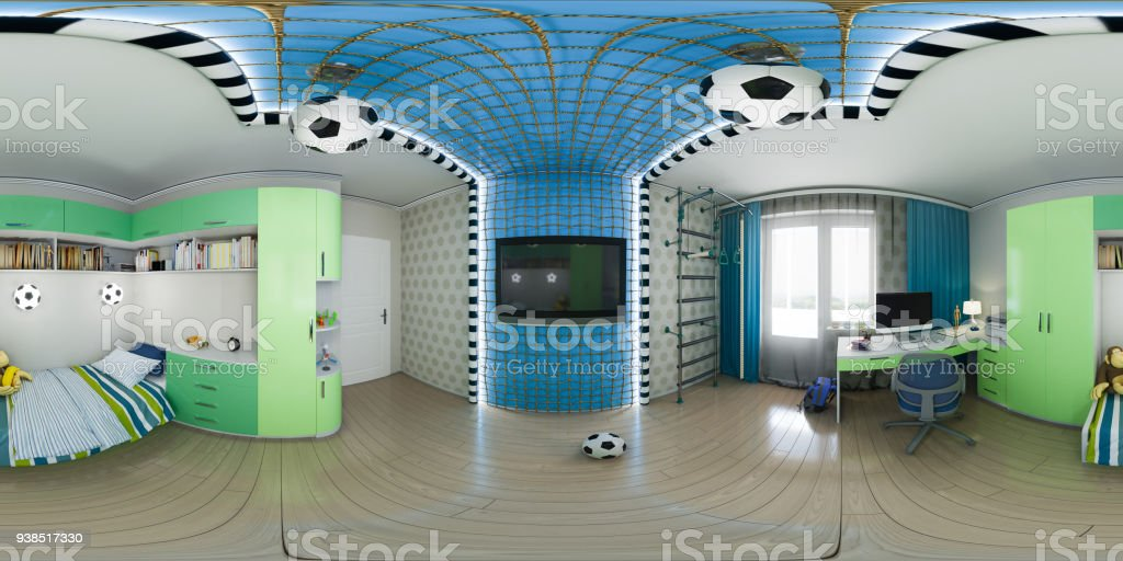 3d illustration of nursery interior design. 360 degrees, seamless panorama stock photo