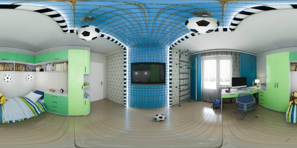3d abbildung des kindergarten interior design. 360 grad, nahtlosen panorama - fußball themenzimmer stock-fotos und bilder