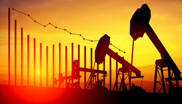 3d illustration of oil pump jacks on sunset sky background with financial analytics. concept of falling oil prices - crude stock pictures, royalty-free photos & images