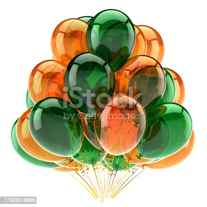 istock 3d illustration of party balloons bunch orange green colored 1160614969