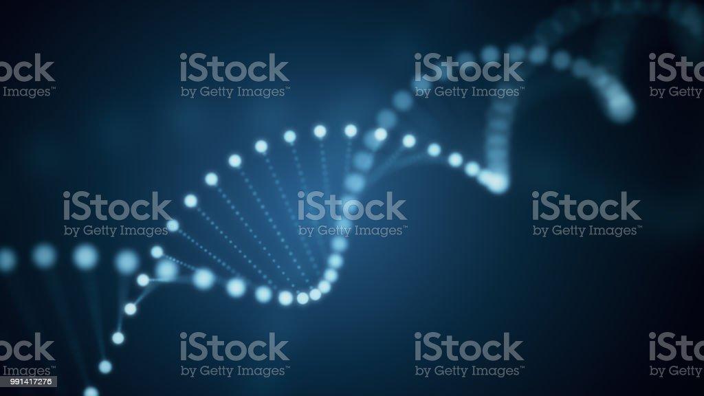 Ilustración 3D de rotación de la molécula de ADN de brillantes sobre fondo azul - foto de stock