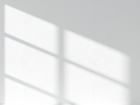 3d rendered illustration of shadow laying on white stucco wall